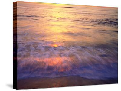 USA, California, San Diego. Sunset Cliffs Beach Reflects the Sunset-Jaynes Gallery-Stretched Canvas Print