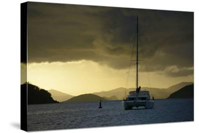 Caribbean, British Virgin Islands, Tortola. Catamaran at Soper's Hole-Kevin Oke-Stretched Canvas Print