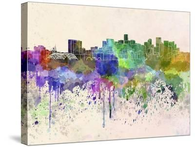 Denver Skyline in Watercolor Background-paulrommer-Stretched Canvas Print