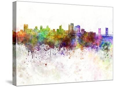 Sacramento Skyline in Watercolor Background-paulrommer-Stretched Canvas Print