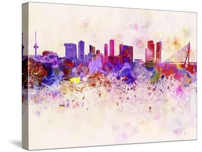 Rotterdam Skyline in Watercolor Background-paulrommer-Stretched Canvas Print