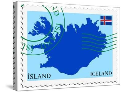 Stamp with Map and Flag of Iceland-Perysty-Stretched Canvas Print