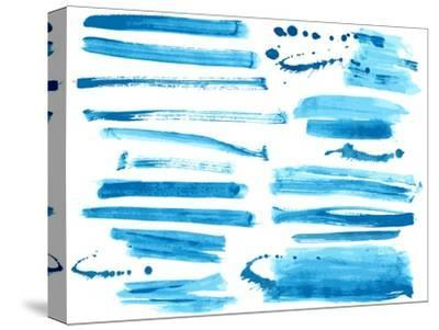 Watercolor Blue / Ink Brush Strokes Collection-Danussa-Stretched Canvas Print