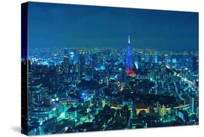 Blue Tokyo Night-Copyright Artem Vorobiev-Stretched Canvas Print