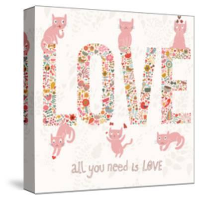 Romantic Valentines Day Card with Word Love Made Birds, Flowers, Petals, Hearts and Twigs. Cute Wed-smilewithjul-Stretched Canvas Print