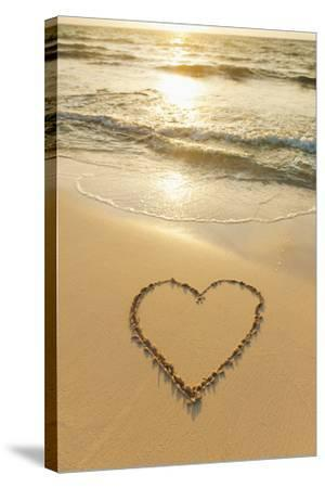 Mexico, Yucatan, Heart Drawn in Sand on Beach-Tetra Images-Stretched Canvas Print