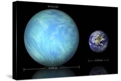 Artist's Depiction of the Difference in Size Between Earth and Kepler 22B--Stretched Canvas Print