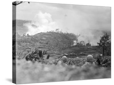 Infantrymen Lying on Ground at Lookout-Sam Goldstein-Stretched Canvas Print
