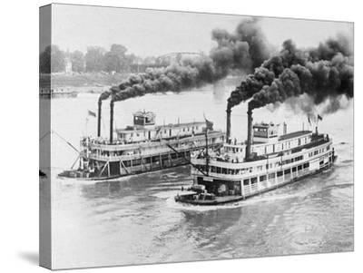 Aerial View of Steamboats Racing--Stretched Canvas Print