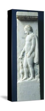 Marble Funerary Stele with Relief Depicting Young Deceased Man and Inscription--Stretched Canvas Print