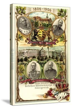Präge Litho Stuttgart,Adel Württemberg, Schloss, Stadt--Stretched Canvas Print