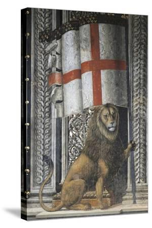 Lion Holding Up Coat of Arms--Stretched Canvas Print