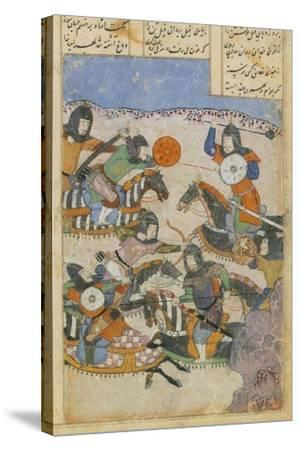 Scene of Battle Between Knights, Miniature from the Persian Tragic Romance of Khosrow and Shirin--Stretched Canvas Print
