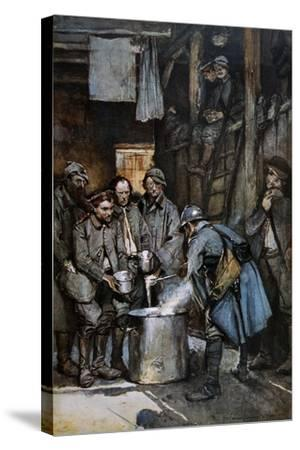 German Pows in French Hands at Souville Receive Food Rations, 1916--Stretched Canvas Print