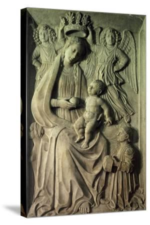 Madonna with Child, Bas-Relief of Cloister of Amalfi Cathedral, Campania, Italy--Stretched Canvas Print