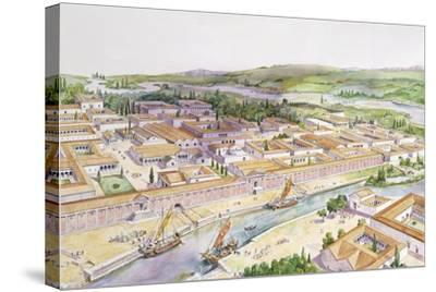 Italy, Friuli-Venezia Giulia, Reconstruction of Port of Aquileia--Stretched Canvas Print