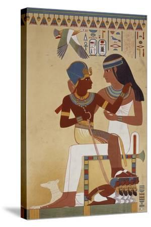 Amenhotep II and His Housekeeper, Copy of a Fresco Dating Back to 18th Dynasty Theban--Stretched Canvas Print