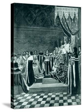 Henry VI Opening Parliament with His Mother-Arthur David McCormick-Stretched Canvas Print