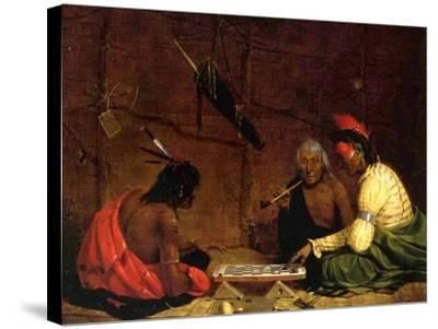 Winnebago Indians Playing Checkers, 1842-Charles Deas-Stretched Canvas Print