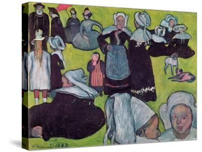Bretons in a Field Or, the Pardon, 1888-Emile Bernard-Stretched Canvas Print