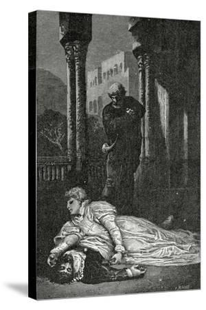 Dona Sol Dies on Hernani'S Corpse, 19th Century-Francois Nicolas Chifflart-Stretched Canvas Print