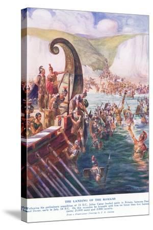 The Romans Arriving in Britain-Joseph Ratcliffe Skelton-Stretched Canvas Print