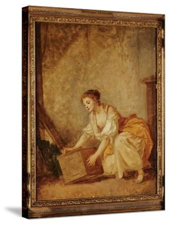 A Young Girl Lifting a Chest-Jean-Baptiste Greuze-Stretched Canvas Print