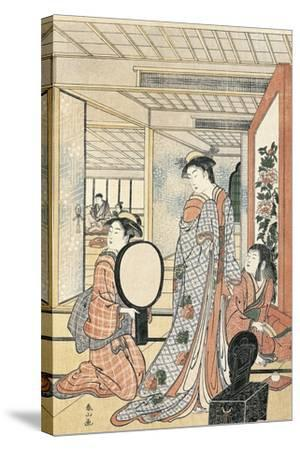 Woman in Front of Mirror-Katsukawa Shunsho-Stretched Canvas Print