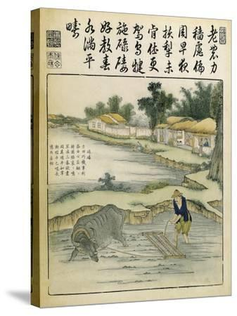 China, Work in Rice Fields During Ming Era, 1696-Yu Tche Keng Tche T'Ou-Stretched Canvas Print