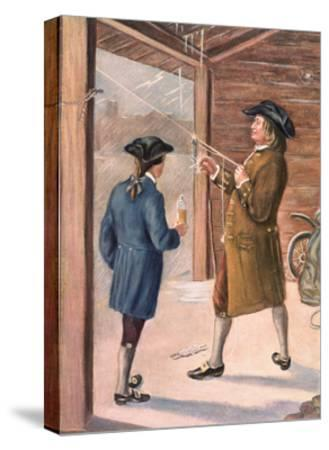 Illustration of Benjamin Franklin and Assistant Performing Lightning Experiment--Stretched Canvas Print