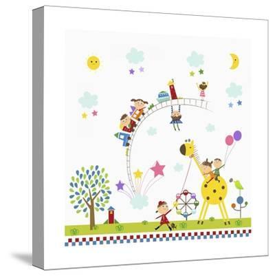 Happy Children in Amusement Park-TongRo-Stretched Canvas Print