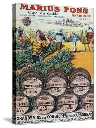 Advertisement for 'Marius Pons' Wine Merchants in Narbonne, France, Early 20th Century--Stretched Canvas Print