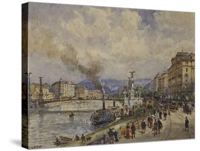 Austria, Vienna, Walk Along Danube River in Vienna--Stretched Canvas Print