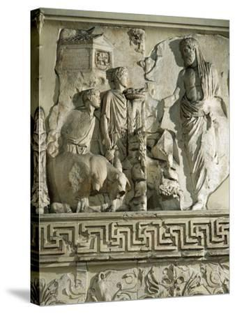 Relief of Aeneas Sacrificing to Penates, on Ara Pacis Augustae, Altar Built Between 13 and 9 B.C.--Stretched Canvas Print