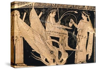 Krater Showing Scene of Eleusis Cult with Triptolemus in Winged Chariot and Demeter--Stretched Canvas Print