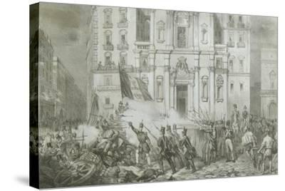 Italy - 19th Century, First War of Independence - 'Resurgence Uprising in Naples', May 15, 1848--Stretched Canvas Print