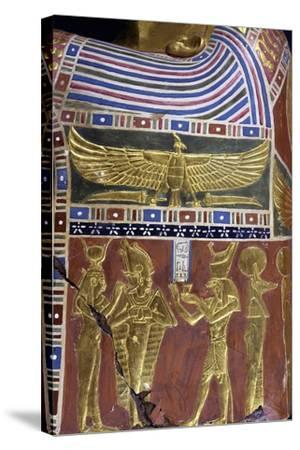 Divinity, Decorative Detail of Male Funerary Mask, Gilded and Painted Cartonnage, from Meir--Stretched Canvas Print