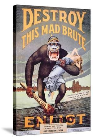 'Destroy This Mad Brute', World War One Recruitment Poster--Stretched Canvas Print