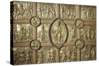 Pala D'Oro Altar in Aachen Cathedral, Detail Representing Different Biblical Scenes and Pantocrator--Stretched Canvas Print