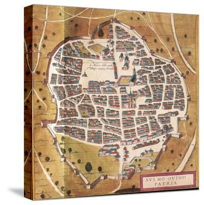 Italy, Sulmona, the City of Sulmona from Civitates Orbis Terrarum--Stretched Canvas Print