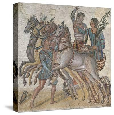 Mosaic Work Depicting a Chariot Race--Stretched Canvas Print