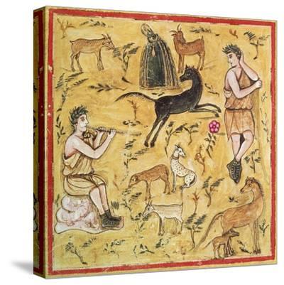 Miniature Depicting a Pastoral Scene, Roman Manuscript--Stretched Canvas Print