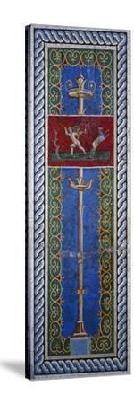 Fourth Style Mosaic of Wall Panel Depicting Candelabrum and Hunting Putto--Stretched Canvas Print