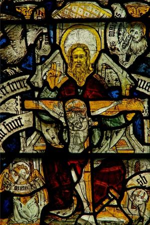 Window W24 Depicting the Trinity--Stretched Canvas Print