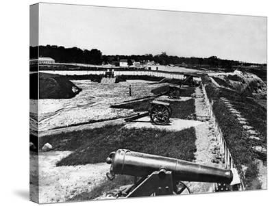 View of Artillery in Fort Carroll Outside Washington, D. C., C.1865--Stretched Canvas Print