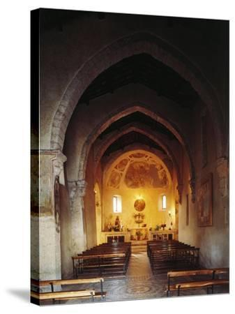 Interior of the Church of Saint Peter, Anticoli Corrado, Italy, 11th Century--Stretched Canvas Print