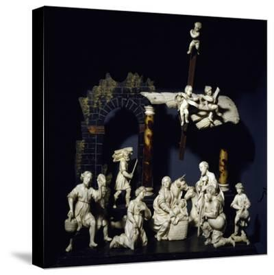 Nativity and Adoration of Shepherds, Tyrolean Nativity Scene with Figurines in Ivory and Tortoise--Stretched Canvas Print