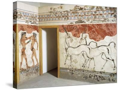 Greek Civilizationes Depicting Antelopes and Young Boxers, from Akrotiri, Thera, Santorini, Greece--Stretched Canvas Print