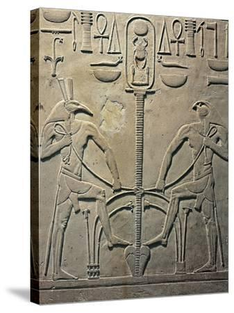 Pharaoh Sesostris I Statue, Details from Throne Depicting Horus and Seth, from Al Lisht, Egypt--Stretched Canvas Print