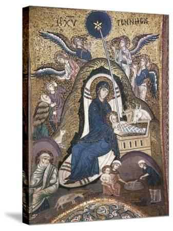 Nativity, Byzantine Mosaic Work, Church of La Martorana, Palermo, Sicily, Italy--Stretched Canvas Print